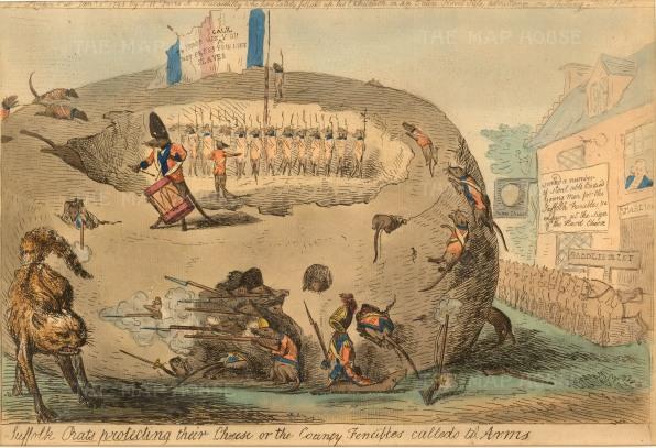"Cruikshank: 'Suffolk Rats Protecting Their Cheese'. 1795. An original hand-coloured etching. 9"" x 13""."