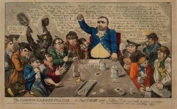 """S.W. Fores, 'The Common Garden Orator', 1800. An original colour etching. 10"""" x 16"""". £POA."""