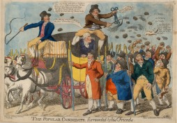 """S.W. Fores, 'The Popular Candidate Surrounded by his Friends', 1803. An original colour etching. 10"""" x 14"""". £POA."""