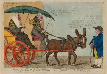 """S.W. Fores, 'Sherry's Plan of Economy', 1830. An original colour etching. 10"""" x 14. £POA."""
