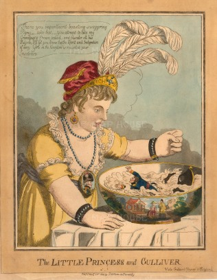 """SW. Fores, 'The Little Princess and Gulliver', Napoleonic satire. An etching in original colour. 10"""" x 12"""". £POA."""