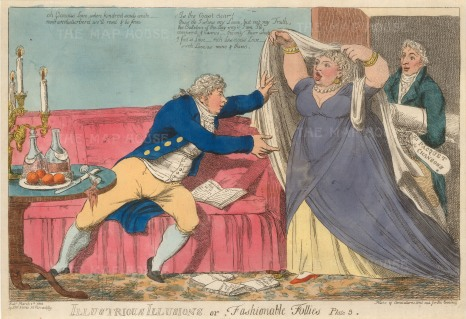 "SW. Fores, 'Illustrious Illusions, or, Fashionable Follies', 1803. An original hand-coloured etching. 10"" x 14"". £POA."
