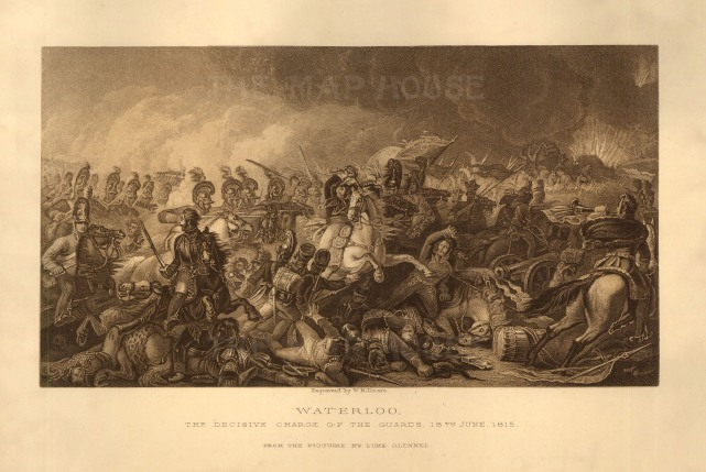 "Blackie: Waterloo. Charge of the Guards. c.1880. An original steel-engraving. 11"" x 7""."