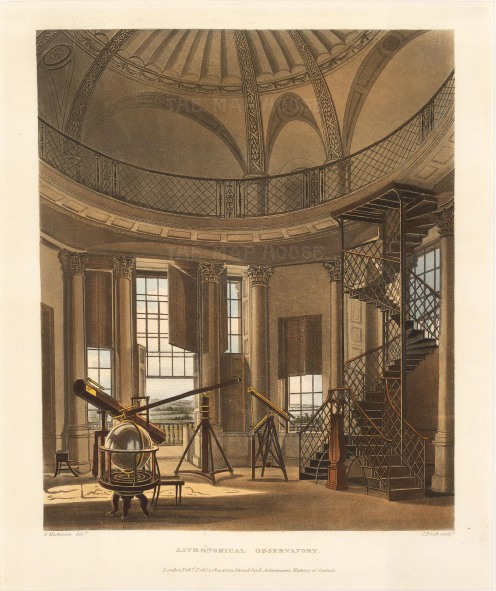 "Ackermann: Astronomical Observatory, Oxford. 1814. An original hand coloured antique aquatint. 10"" x 12"". [OXONp795]"