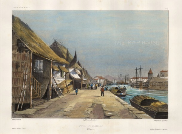 Manila Harbour: View in the dockyards. After Theodore-Auguste Fisquet, artist on the voyage of La Bonite 1836-7.