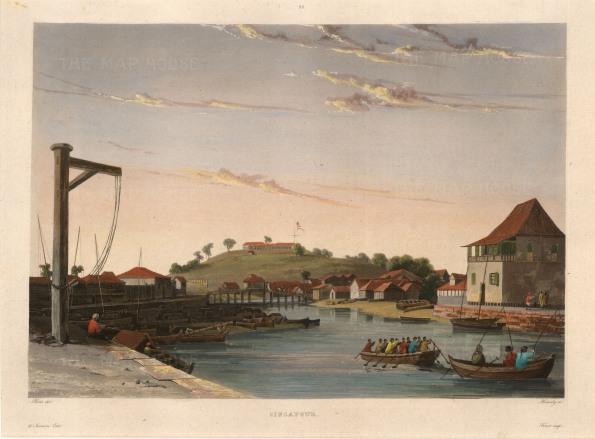 SOLD Singapore River: View of Presentment or Jackson's Bridge and Government Hill. After Francoise-Emond Paris, artist on the voyage of La Favorite 1829-32.