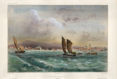 Manila: View of the city from the sea with traditional sailing boats in the foreground.After Theodore-Auguste Fisquet, artist on the voyage of La Bonite 1836-7.