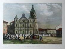 Manila: Binondo Church (Basílica Menor de San Lorenzo Ruiz).After Theodore-Auguste Fisquet artist on the voyage of La Bonite 1836-7.