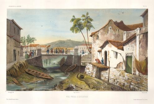 "Vaillant: Singapore., c.1850. A hand-coloured original antique lithograph. 10"" x 15"". SOLD"