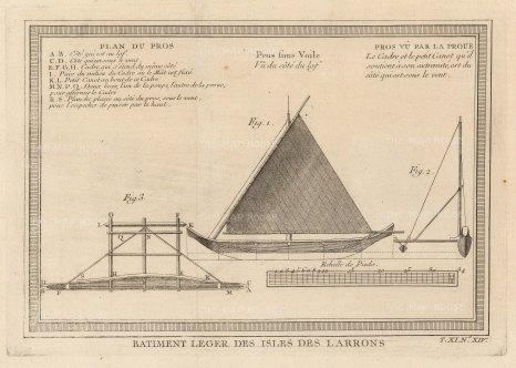 Larron (Marianas): Diagram of a traditional boat.