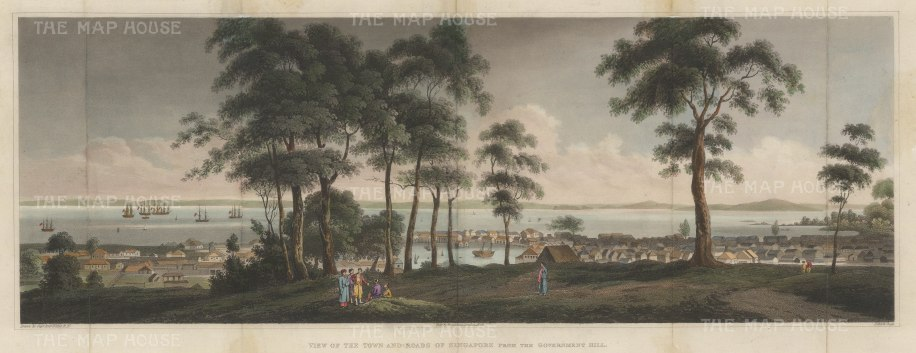 Rare and Important early panorama. Singapore from Government Hill (Fort Canning) towards the straits.