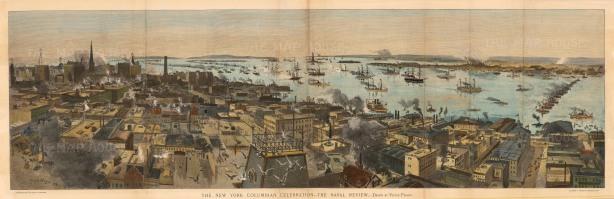 "Harpers: New York City, New York. 1892. An original colour antique wood engraving. 43"" x 14"". [USAp3819]"