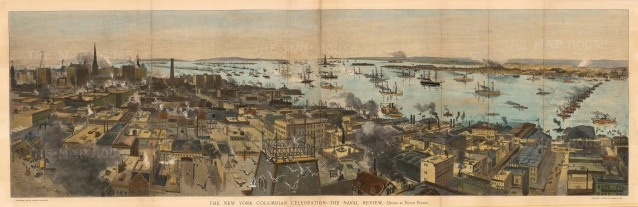 Harpers: New York. 1892. An original colour antique wood-engraving. 43 x 14 inches. [USAp3819]