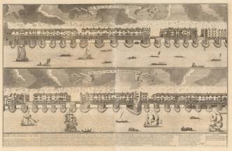 "Nicholls: London Bridge. 1720. An original antique copper engraving. 35"" x 22"". [LDNp1917]"
