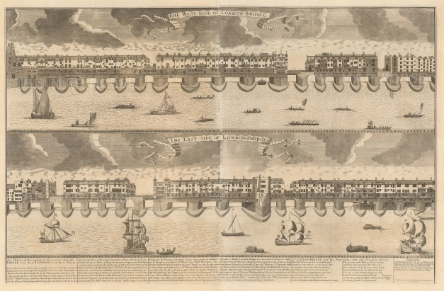 "Nicholls: London Bridge. 1720. An original antique copper engraving. 22"" x 35"". [LDNp1917]"