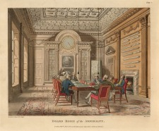 "Rowlandson: Board Room of the Admiralty. 1808. An original colour antique aquatint. 9"" x 11"". [LDNp6748]"