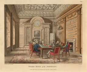 Admiralty: Interior view of the Board Room. Part of John Evans's earlier building of 1695 and still in use, the fine overmantle is attributed to Grinling Gibbons's workshop.