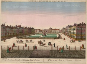 "Vue D'Optique: Leicester Square. c.1780. An original hand-coloured antique copper engraving. 12"" x 17""."