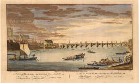 "Stowe: Westminster Bridge. 1754. A hand-coloured original antique copper engraving. 11"" x 16"". [LDNp8755]"