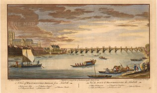 "Stowe: Westminster Bridge. 1754. A hand-coloured original antique copper engraving. 11"" x 16"". [LDNp8755]"