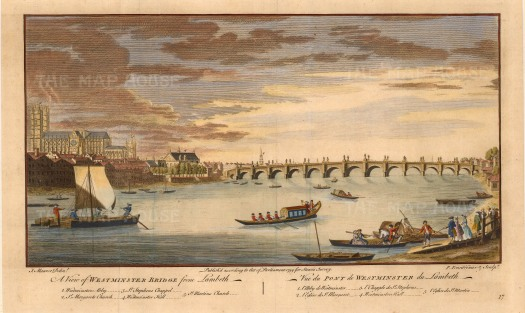 "Stowe:Westminster Bridge. 1754. A hand-coloured original antique copper engraving. 11"" x 16"". [LDNp8755]"