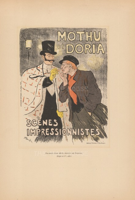 Mothu et Doria: Advertisement for the two singers by Théophile-Alexandre Steinlen, an artist of the Montmartre circle.
