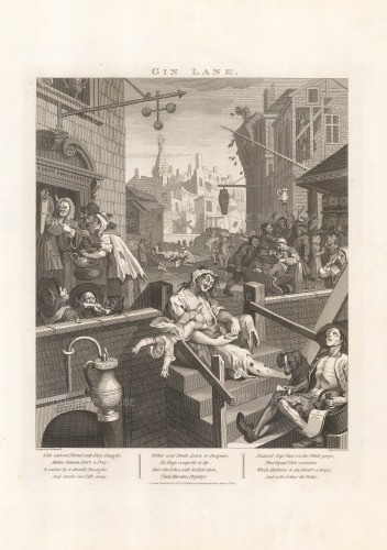 William Hogarth, Gin Lane. Published in 1800. An original copper-engraving. Sold as a pair. NOW SOLD.