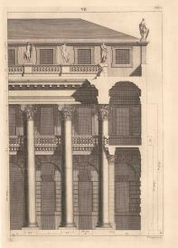 """Bernard Picart, An architectural facade design taken from Leoni's reissue of Palladio's Treatise on Architecture, 1717. An original copper-engraving. 10"""" x 13"""". Framed. £POA."""