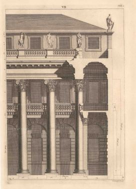 Bernard Picart, An architectural facade design taken from Leoni's reissue of Palladio's Treatise on Architecture, 1717. An original copper-engraving. 10