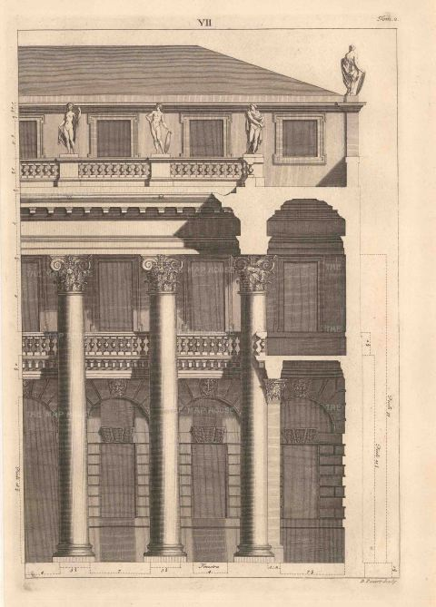 "Bernard Picart, An architectural facade design taken from Leoni's reissue of Palladio's Treatise on Architecture, 1717. An original copper-engraving. 10"" x 13"". Framed. £POA."