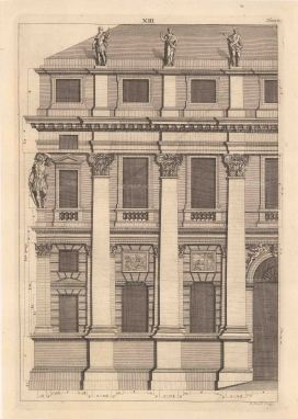 Bernard Picart, a Greco-Roman facade design taken from Leoni's reissue of Palladio's Treatise on Architecture, 1717. An original black and white copper-engraving. 10