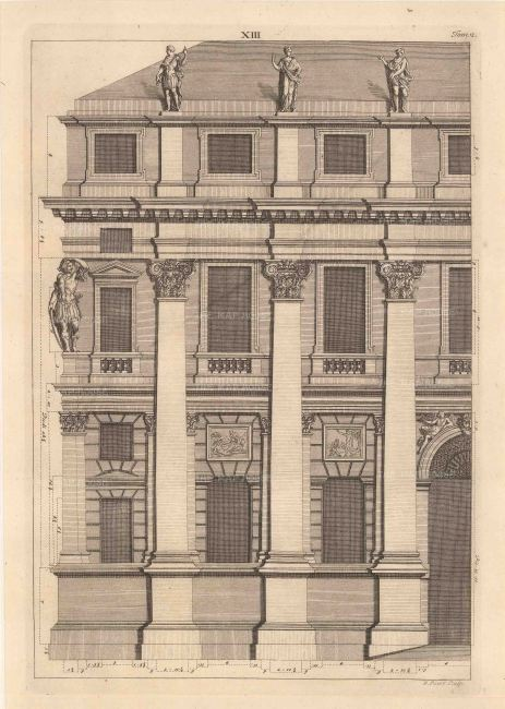 "Bernard Picart, a Greco-Roman facade design taken from Leoni's reissue of Palladio's Treatise on Architecture, 1717. An original black and white copper-engraving. 10"" x 14"". £POA."