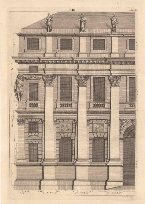 "Bernard Picart, a Greco-Roman facade design taken from Leoni's reissue of Palladio's Treatise on Architecture, 1717. An original black and white copper-engraving. 10"" x 14"". £POA."