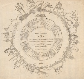 The illusionistic circular battle panorama of Trafalgar, now lost, was invented by Henry Barker. The viewer stepped up into the centre illuminated by daylight to be given the sense of being in the midst of battle.