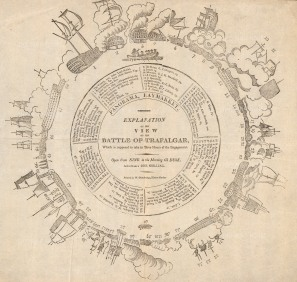 SOLDThe illusionistic circular battle panorama of Trafalgar, now lost, was invented by Henry Barker. The viewer stepped up into the centre illuminated by daylight to be given the sense of being in the midst of battle.