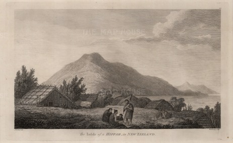 Motuara, Marlborough Sound. Scene within a Maori Hippah or Pa with houses made of reeds. After John Webber, artist on the Third Voyage.