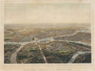 "Charleman: St. Petersburg. c1840. An original colour antique lithograph. 24"" x 17 "". [RUSp572]"