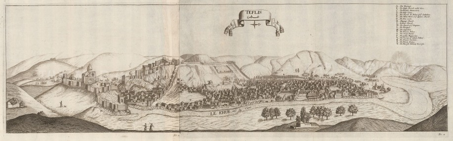 SOLD Tiblisi, Georgia: Panorama in 1672 with key. At this time the city was the centre of the Kingdom of Kartli, under Persian suzerainty. Chardin was an agent of Sulieman I.
