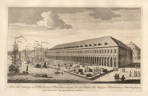 """Sayer, 'Perspective view of the Exchange and the Warehouses at Petersburg in Russia', 1774. An original black and white copper-engraving. 12"""" x 18"""". £POA."""