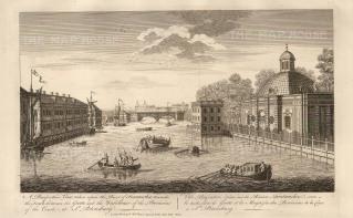 "Sayer: Fontancka River, St. Petersburg. 1774. An original antique copper engraving. 18"" x 12"". [RUSp671]"