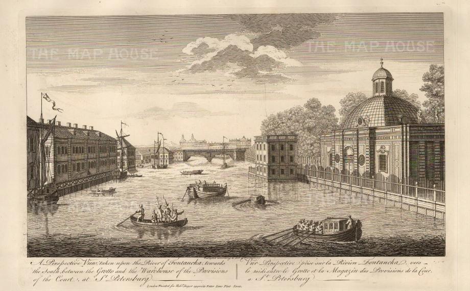 "Sayer: Fontancka River, St. Petersburg. 1774. An original antique copper engraving. 12"" x 18"". [RUSp671]"
