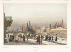 """Lauvergne: The Kremlin, Moscow. 1841. A hand coloured original antique lithograph. 18"""" x 13"""". [RUSp712]"""