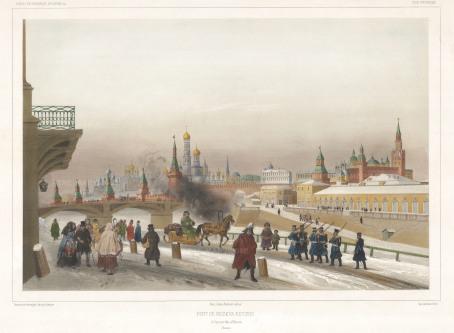 "Bartelemy Lauvergne, Panorama of the Kremlin, from the Moskvoretsky Bridge, 1841. An original lithograph. 13"" x 18"". £POA."