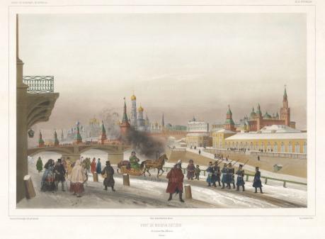 """Lauvergne: The Kremlin. 1841. A hand coloured original antique lithograph. 18"""" x 13"""". [RUSp712]"""