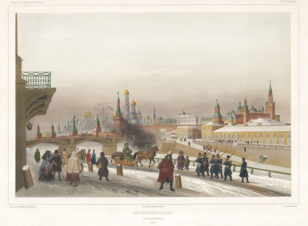 "Lauvergne: The Kremlin. 1841. A hand-coloured original antique lithograph. 13"" x 18"". [RUSp712]"