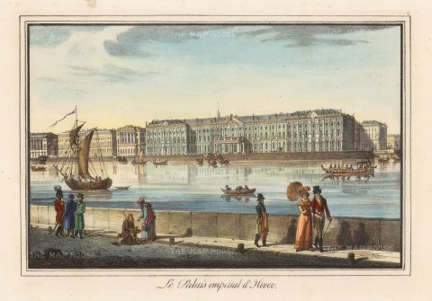 "Alexandriev:Winter Palace, St Petersburg. A hand coloured original antique lithograph. 16"" x 12"" [RUSp745]"