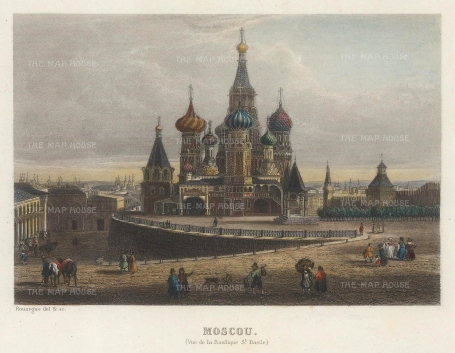 "Payne: St.Basil's, Moscow. c1840. A hand coloured original antique steel engraving. 6"" x 5"" [RUSp769]"