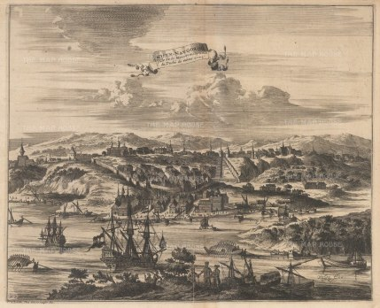Nizhny Novgorod: Scarce panorama of the city and Oka river. After the 1647 view of Adam Olearius, secretary to the embassy of the Duke of Holstein. Engraved by Nicholas Witsen.
