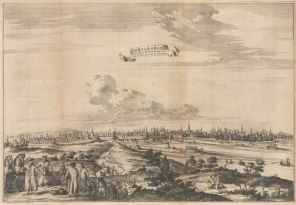 Novgorod: Scarce panorama looking over the Volkhov River towards the Great Bridge and Detinets (Novgorod Kremlin) in c1665. Engraved by Nicholas Witsen.