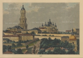 "Reclus: Kiev, Ukraine. 1849. A hand coloured original antique wood engraving. 7"" x 5"". [RUSp776]"